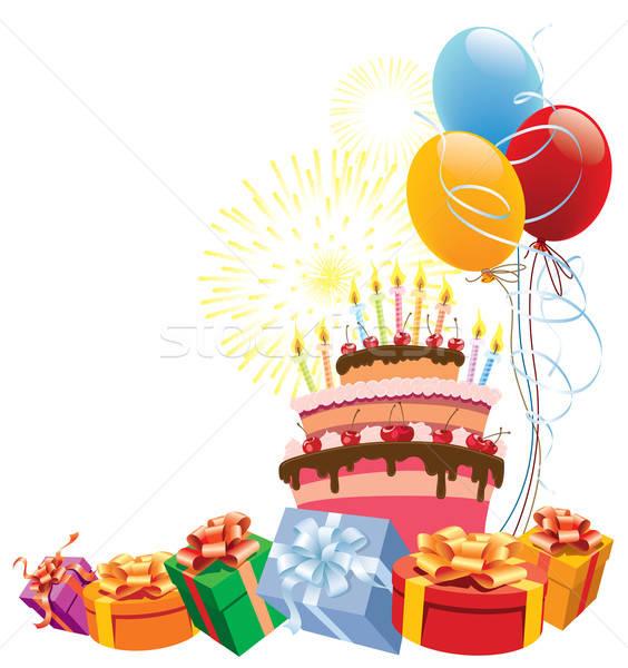 Stok fotoğraf: Doğum · günü · pastası · renkli · balonlar · hediyeler · parti · sanat