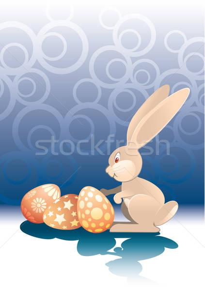 Сток-фото: Пасху · кролик · яйца · окрашенный · готовый · праздник