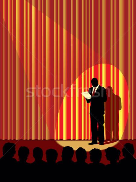 Foto stock: Audiencia · personas · mirando · etapa · uno · hombre