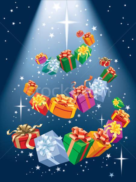 Foto stock: Papá · noel · árbol · magia · árbol · de · navidad · presenta · brillante