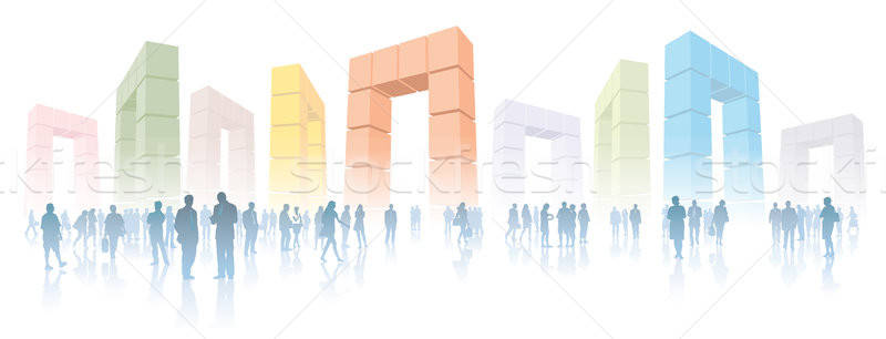Teia multidão pessoas internet virtual realidade Foto stock © Aiel