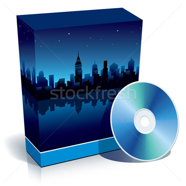 Stockfoto: Vak · moderne · City · Night · cd · Blauw · 3D