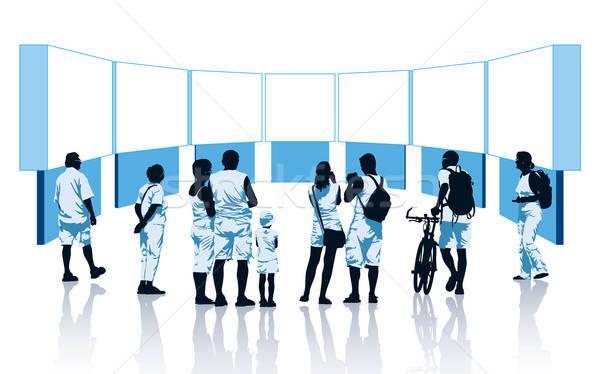 Faktyczny wystawa tłum patrząc Widok kobieta Zdjęcia stock © Aiel