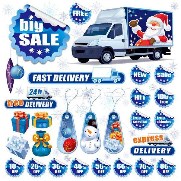 Blauw christmas verkoop collectie stickers ontwerp Stockfoto © Aiel