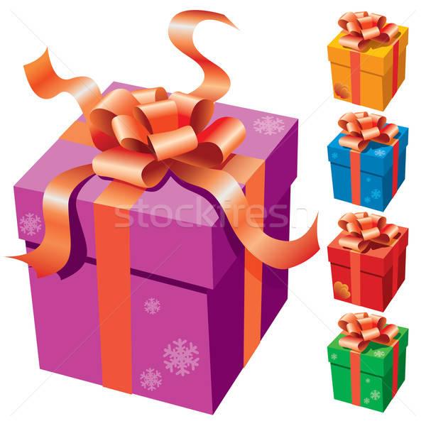Foto stock: Caja · de · regalo · cinta · blanco · boda · fiesta · feliz