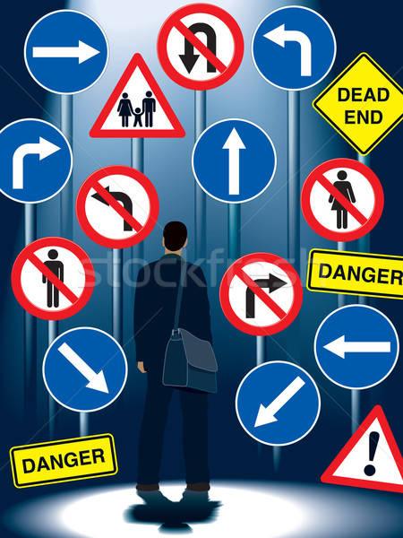 Stockfoto: Leven · regeling · borden · zakenman · permanente · verkeersborden