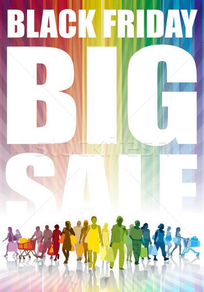 Black friday groot verkoop kleurrijk menigte mensen Stockfoto © Aiel