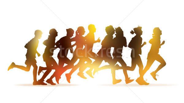 Lopen mensen menigte jongeren marathon witte Stockfoto © Aiel