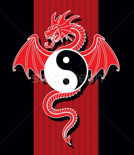 Yin Yang Red Dragon Stock photo © Aiel