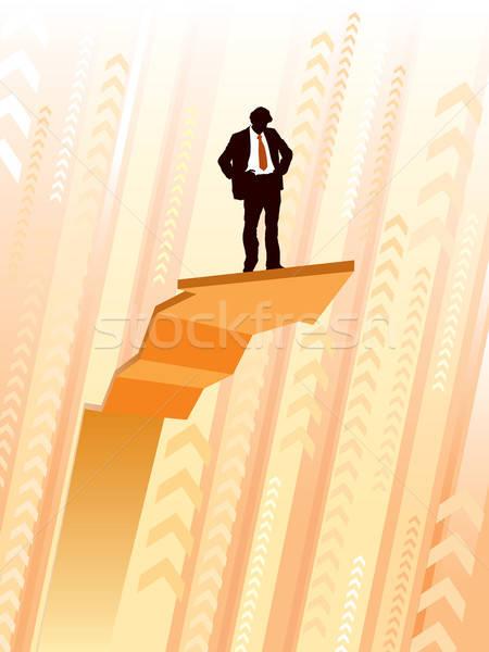 Stockfoto: Top · zakenman · permanente · groot · klimmen · grafiek