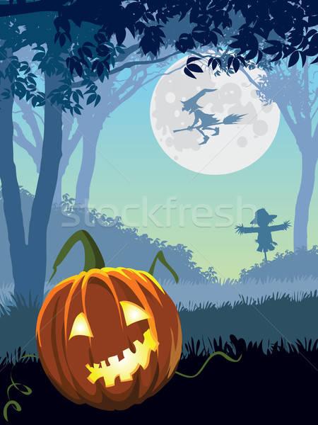 Ijesztő kert halloween illusztráció ünnep égbolt Stock fotó © Aiel