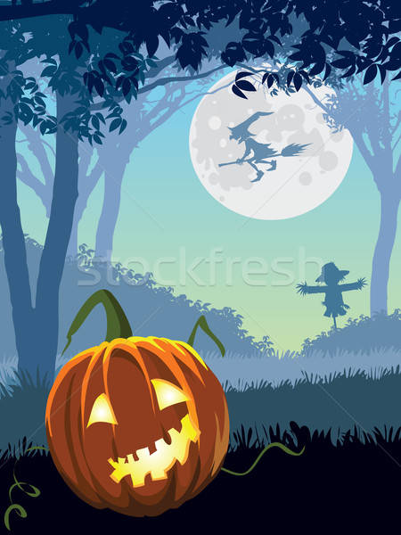 Assustador jardim halloween ilustração férias céu Foto stock © Aiel