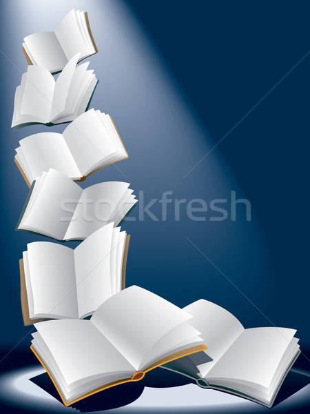 Stok fotoğraf: Uçan · kitaplar · açmak · karanlık · mavi · güneş