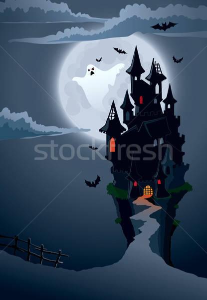 Stockfoto: Scary · kasteel · halloween · perfect · illustratie · vakantie