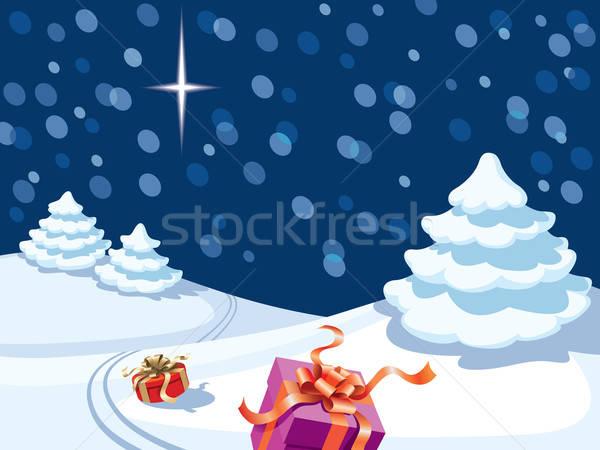 Foto stock: Navidad · noche · presenta · perdido · papá · noel · vector