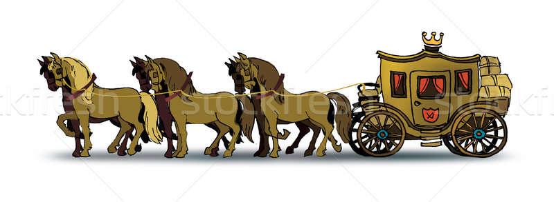 キャリッジ 図面 6 馬 古い ストックフォト © Aiel