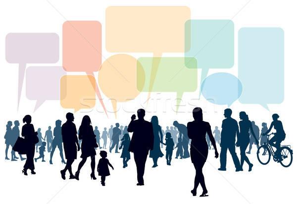 Lopen praten menigte mensen familie paar Stockfoto © Aiel