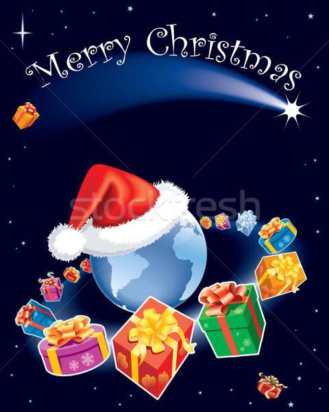 Zdjęcia stock: Christmas · wszechświata · prezenty · pływające · około · ziemi