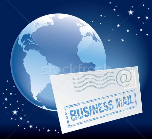 Сток-фото: бизнеса · почты · Flying · конверт · мира · синий