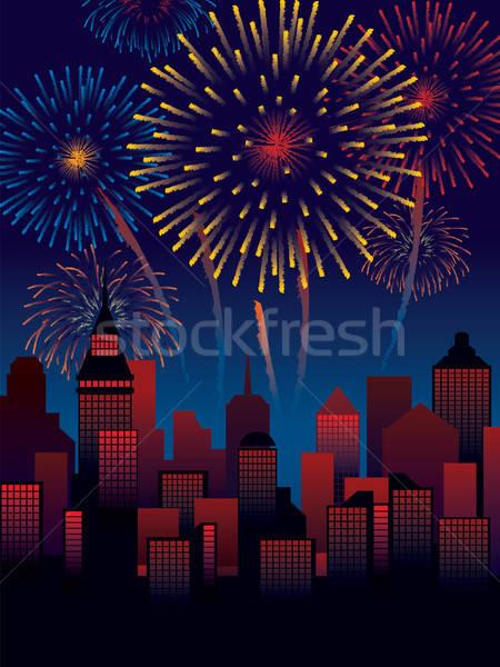 Stockfoto: Vuurwerk · carnaval · stad · decoratie · klaar · posters