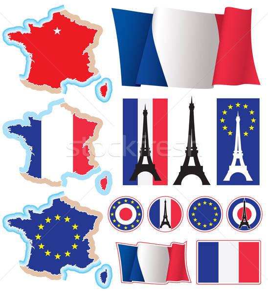 Stock fotó: Franciaország · gyűjtemény · francia · terv · elemek · vektor
