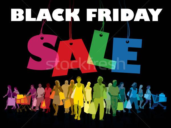 Black friday winkelen kleurrijk menigte mensen Stockfoto © Aiel