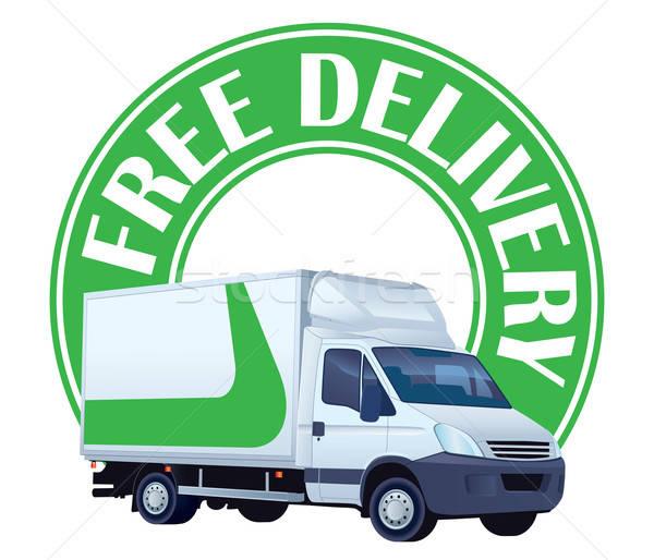 бесплатная доставка знак белый грузовик зеленый дизайна Сток-фото © Aiel