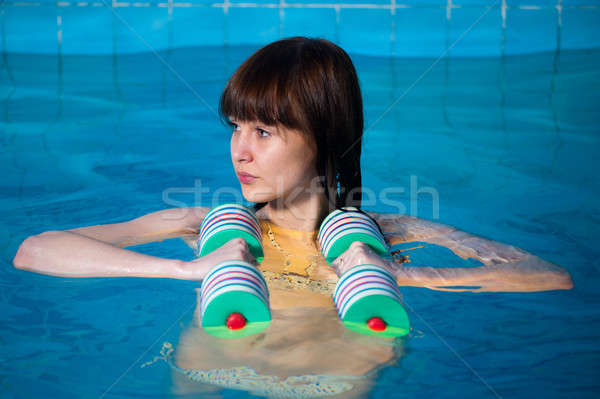 Pretty girl doing aqua aerobic exercise Stock photo © Aikon
