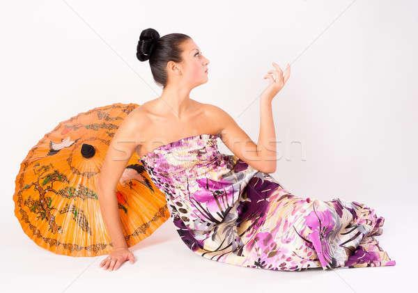 çekici kız şemsiye genç güzel bir kadın Asya beyaz Stok fotoğraf © Aikon