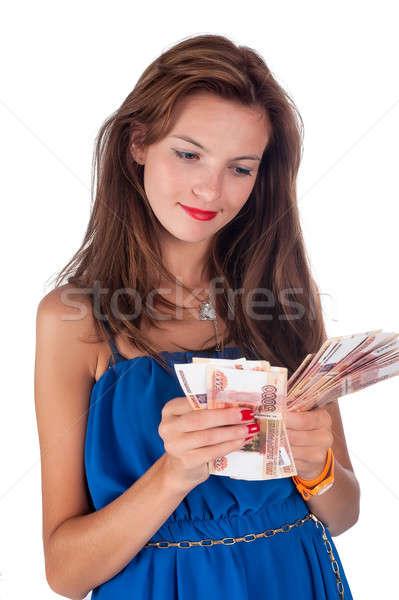 Genç gülümseyen kadın çiller nakit çekici gülen Stok fotoğraf © Aikon