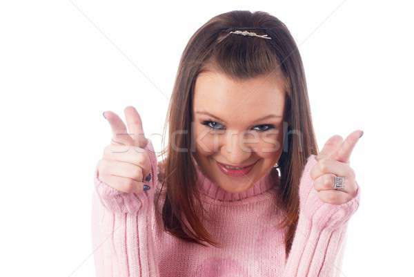Pretty girl pointing at you Stock photo © Aikon