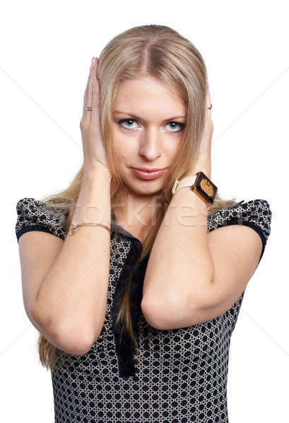 Pretty girl covering er ears Stock photo © Aikon