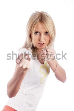 Stockfoto: Mooie · meisje · jonge · aantrekkelijke · vrouw · tonen · geïsoleerd