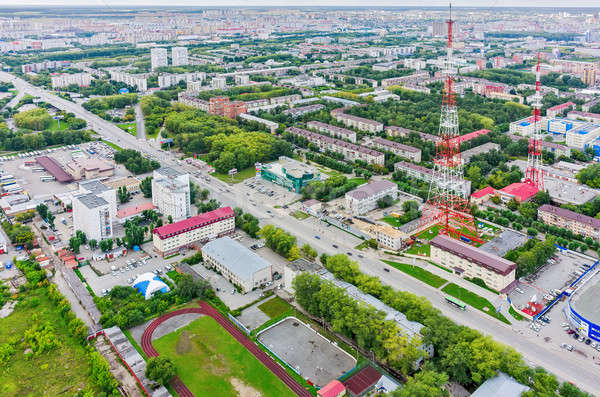 Tyumen city and two TV towers. Russia Stock photo © Aikon