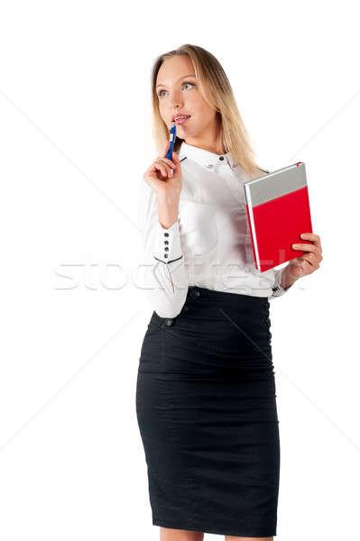 Businesswoman standing with organizer diary Stock photo © Aikon