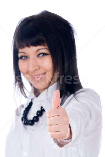 Geslaagd vrouw tonen okay teken witte Stockfoto © Aikon