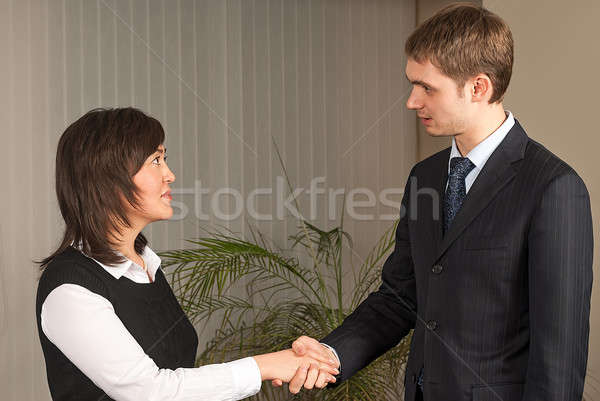 Business man and woman handshake in office Stock photo © Aikon