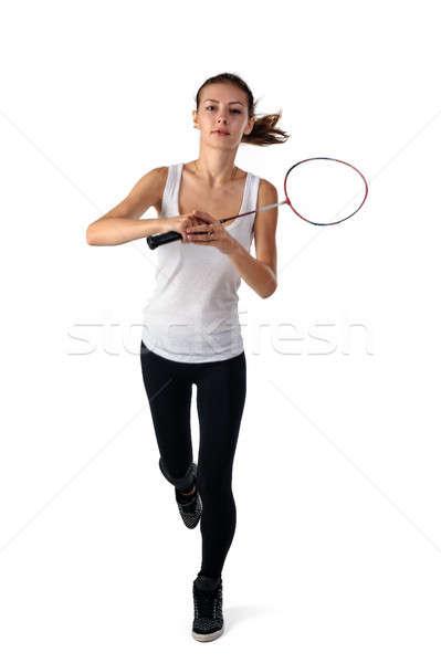 Mooi meisje badminton mooie geschikt vrouw racket Stockfoto © Aikon