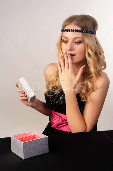beautiful young woman get gift Stock photo © Aikon