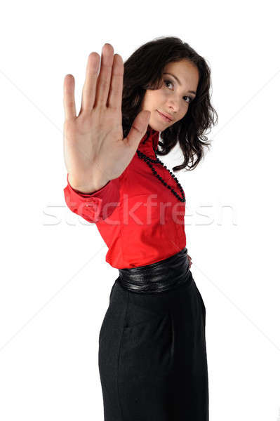 Stock photo: Attractive girl with stop gesture