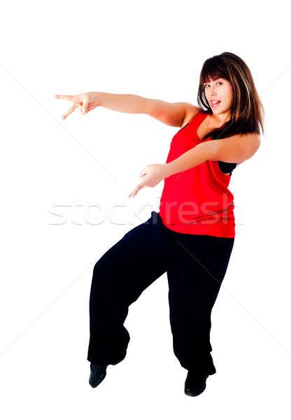 Genç hip-hop dansçı genç kadın dans yalıtılmış Stok fotoğraf © Aikon