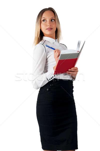 Joli femme d'affaires permanent organisateur journal portrait Photo stock © Aikon