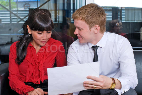 Attractive businesspeople in car shop Stock photo © Aikon