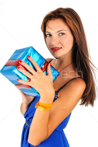 Happy woman with gift box Stock photo © Aikon