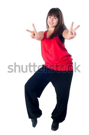 Güzel hip-hop dansçı genç güzel bir kadın dans Stok fotoğraf © Aikon
