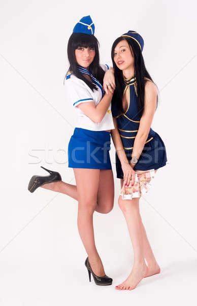 2 かなり スチュワーデス お金 魅力のある女性 ユニフォーム ストックフォト © Aikon