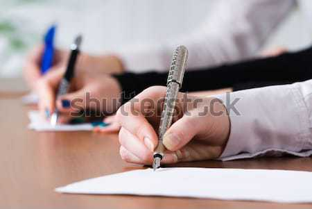 Signing girl Stock photo © Aikon