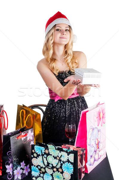 Blond vrouw geschenk jonge aantrekkelijke vrouw Stockfoto © Aikon