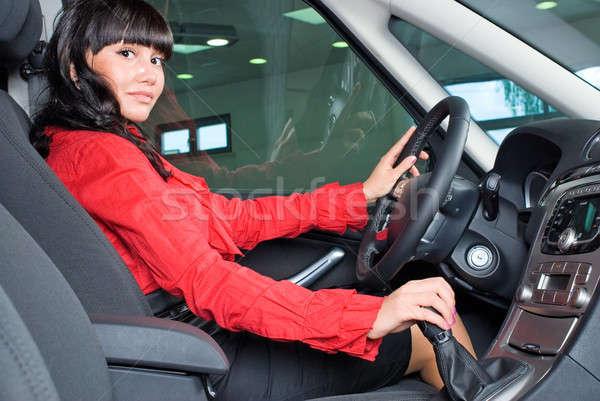 Rijden meisje jonge mooie vrouw auto binnenkant Stockfoto © Aikon