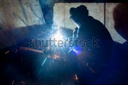 skilled working factory welder Stock photo © Aikon